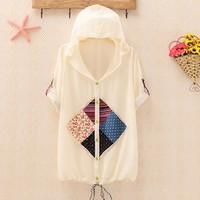 Vintage Applique Hooded Chiffon Tops