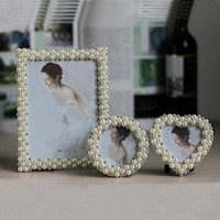 Photo Frames With Pearls and Rhinestone Decoration Wedding