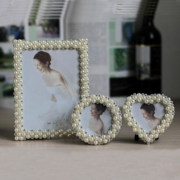 hot special offer picture frame photo frames with pearls and rhinestone decoration wedding festive gift