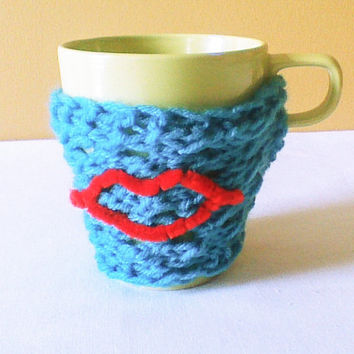 Hand Knit Valentine blue coffee cozy/tea cozy/valentine cozy/Valentines gift/Mug warmer/coffee Cup sweater/Cup cozy/Cup sleeve/Knitted cozy
