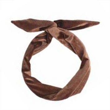 Chocolate Wired Velvet Headwrap