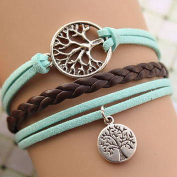 Wishing tree bracelet,retro silver tree bracelet,brown braid leather bracelet---B203