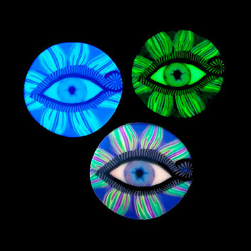 Glow in the dark Psychedelic All Seeing Eye by EyeGloArts blacklight Millefiore in greens and purples #EY82014