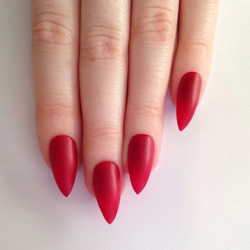 Matte Red Stiletto nails, Nail designs, Nail art, Nails, Stiletto nails, Acrylic nails, Pointy nails, Fake nails