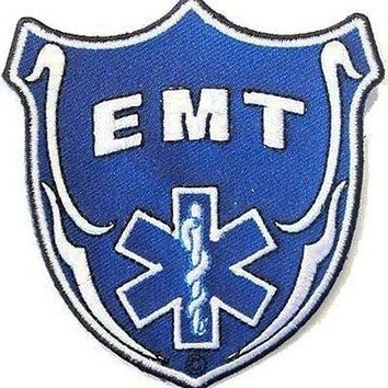 EMT Blue Shield Embroidered Medic Police Fireman MC Biker Vest Patch PAT-0589