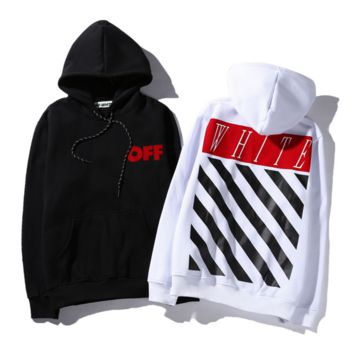Tide brand off white Religious oil painting twill print men and women hooded sweater coat