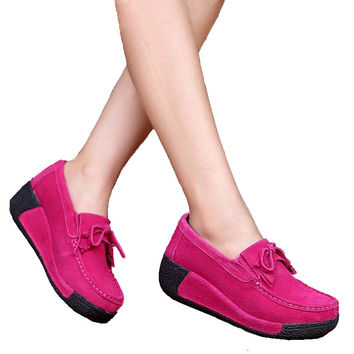 2016 Spring women wedges shoes platform shoes hand-sewn leather suede casual shoes slip on flats tassels creepers 1319