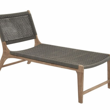 Benzara Durable Wood Rope Outdoor Lounge Chair