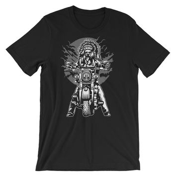 Indian Chief on a Motorcycle Short-Sleeve Unisex T-Shirt