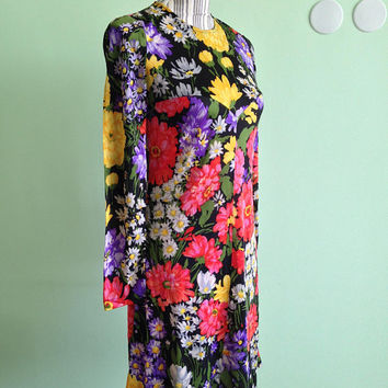 MOVING SALE 50% OFF 60s 70s Style Shift Dress, Sheer Chiffon A Line Skirt Knee Length Dress, Long Sleeve Vintage Floral Dress, Colorful Boho