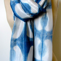 Handmade and Naturally Dyed Organic Silk Scarf- Clamp Blue