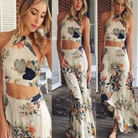 Women Summer Sexy Two Piece Dress Halter Boho Bandage Long Maxi Beach Dress Elegant Lady Party Dress