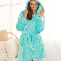 Plush Hooded Gown - Aqua