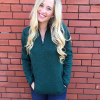 Monogram Heather Pullover- Emerald