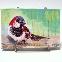 Art Original Acrylic Bird Painting with Easel by bigapple60
