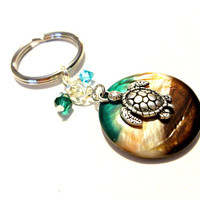 Sea Turtle Keychain, Pretty Blue Green Crystal Key Chain, Cute Car Accessory, Gifts For Girlfriend, Turtle Accessories, Summer Handbag Charm
