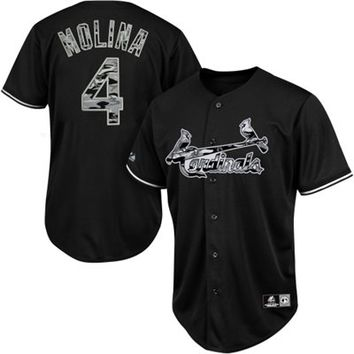 Majestic Yadier Molina St. Louis Cardinals Fashion Replica Jersey - Black/Camo