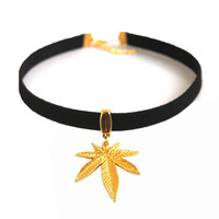 """Gold Weed Leaf Charm 13"""" Choker Necklace"""
