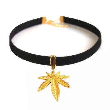 Black Flat Faux Suede Leather Cord Choker Necklace - Gold Leaf Charm 13""