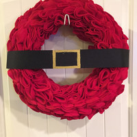 Fun Red Santa Wreath or wall hanger. Santa Belt, Santa Suit, Christmas Decoration. Gold Buckle! FREE SHIPPING to the US