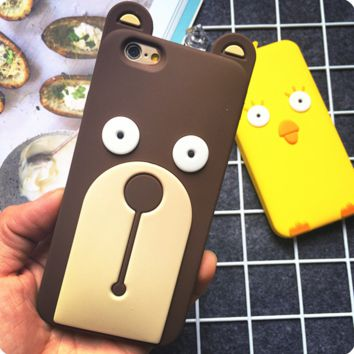 Super cute Bear and Chick Couple Case Cover for Apple iPhone 7 7 Plus 5s 5 SE 6 6S 6 Plus 6S Plus 11080501