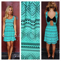 Black Bow back Teal Aztec Print Dress