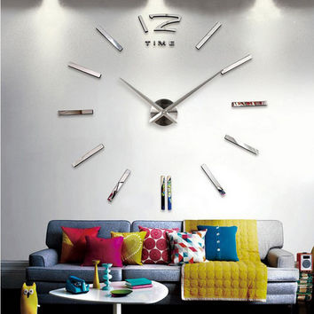 3d real big wall clock rushed mirror sticker diy living room decor free shipping fashion watches  new arrival Quartz clocks