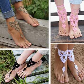 Girl's Barefoot Anklet Crochet Cotton Ankle Chain Sandal Bracelet Foot Jewelry  8JQ6