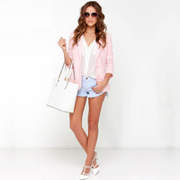 Pink Long-Sleeve Notched Button Blazer