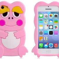 3D Frog Design Silicone Protective Case for iPhone 5C (Pink)