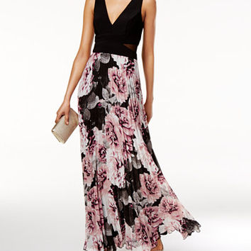 Xscape Printed Pleated Chiffon Gown - Juniors Prom Dresses - Macy's