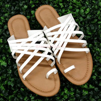 Pendleton White Strappy Flat Sandals