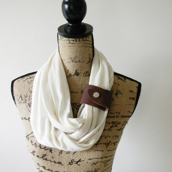 Cream Knit Infinity Scarf with Leather Cuff/ Eternity Scarf/ Circle scarf/ Loop Scarf/ Summer Scarf/ Neck Wrap