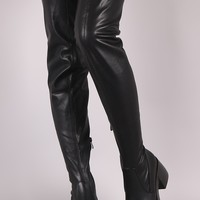 Stretch Leather Almond Toe Chunky Heel Thigh High Boots