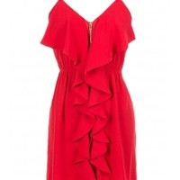 The Red Front Zipper Dress