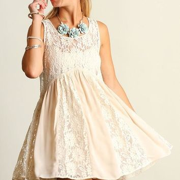 Summer Lovin Lace Accent Cream Dress