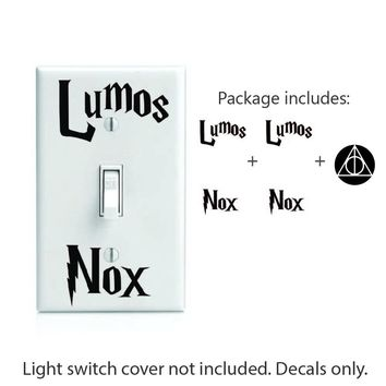 "Lumos Nox inspired 2x Light Switch and Bonus 2"" Deathly Hollows Decal Sticker. # 494"