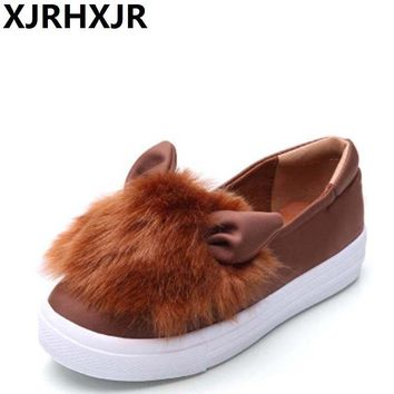 XJRHXJR Wholesale Women Shoes Flats Women Flat Heel Shoes Lazy Shoes Soft Leather Cartoon Rabbit Ears Elastic Cloth Flat Shoes