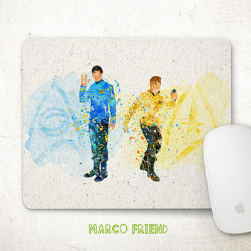 Star Trek Mouse Pad, Kirk and Spock Watercolor Art, Mousepad, Office Deco, Gifts Idea, Art Print, Desk Decor, Star Trek Accessories