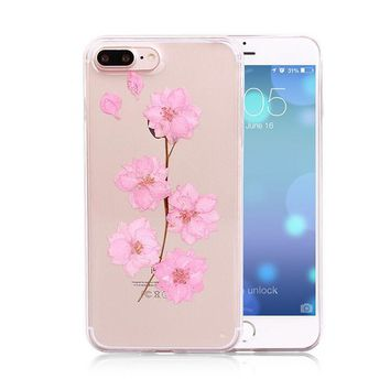 pink pressed flower case real dried flowers phone case limited handmade cover for iphone 7 7plus iphone se 5s 6 6 plus gift box 263  number 1