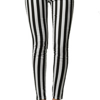 Stripped Black and White Skinny Jeans