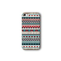 Iphone 5/5s Case, Red and Blue Aztec Geometric on Wood Pattern 3d-sublimated, Mobile Accessories.