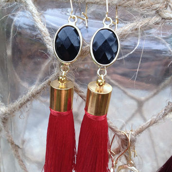 Georgia Bulldogs Earrings, UGA, Red and Black Dangle Earring, Gold, The Persnickety Cricket - The Tailgate Collection