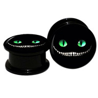 Pair of Acrylic Screw Fit Tunnel Plugs with Evil Cat Logo Front Body Piercing Jewelry (12MM 1/2'')