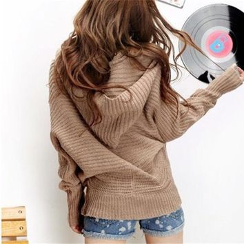PEAPIX3 Women Girls lovely Winter Pure Color Hoodie Sweater Coat V-neck Pullover = 1920398148