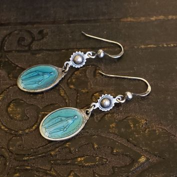 VINTAGE Repurposed Virgin Mary Blue Silver Dangle Earrings, Bright Blue Antique Sterling Silver Blue Oval Earrings, ONE of a KIND
