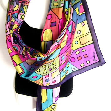 "Silk Scarf, Hand Painted Silk Scarf, Black Multicolor, Abstract Design, Hundertwasser Art Inspired, 71"" x 18"" Long, Gift For Her"