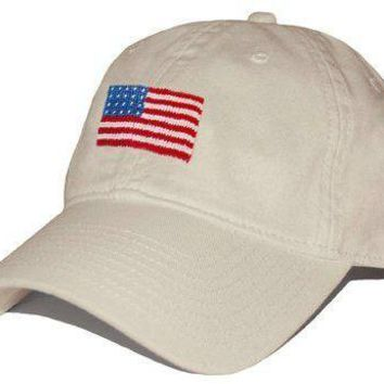 American Flag Needlepoint Hat in Stone by Smathers & Branson