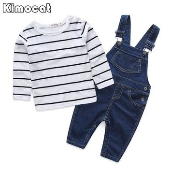 Striped baby clothing sets boy Cotton 2pcs Long sleeve t-shirt + overalls baby boy clothes newborn clothes