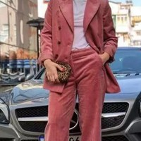 Pink Buttons Tailored Collar Long Sleeve Office Worker/Daily Suit